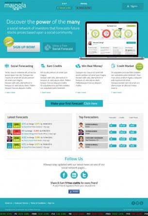 עיצוב אתר Majoola - חיזוי מניות חברתי